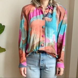 Vtg Rainbow Multicolore Button Down Shirt L